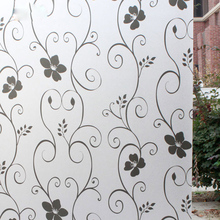 "45 * 100 cm / 17.7 ""* 39.4"" Matte Frosted Window Film Privacy Window Stick Home Decorative Film White Black Wrought Iron Flower"