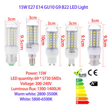 E14 200-240V 15W 69 LEDs LED Bulbs 5730 SMD Corn Light Small ED Corn Lamp Bulb Energy Saving 360 Degree white/warm white(China)