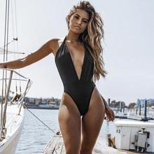 Buy Piece Piece Summer Sexy Beach Bikini Neck Swimsuits Wire Pool Swimsuit Halter Solid One Women Backless Free Swimming