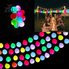 ZLJQ 5Pcs LED Colorful Flash Luminous Balloon Wedding Birthday Party Supplies 12 Inches Latex Multicolor Lights Helium Balloons
