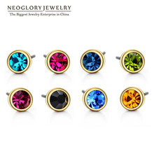 Neoglory Austrian Rhinestone Charm Light Yellow Gold Color Colorful Stud Earrings Set For Women India Jewelry 2017 New Colf
