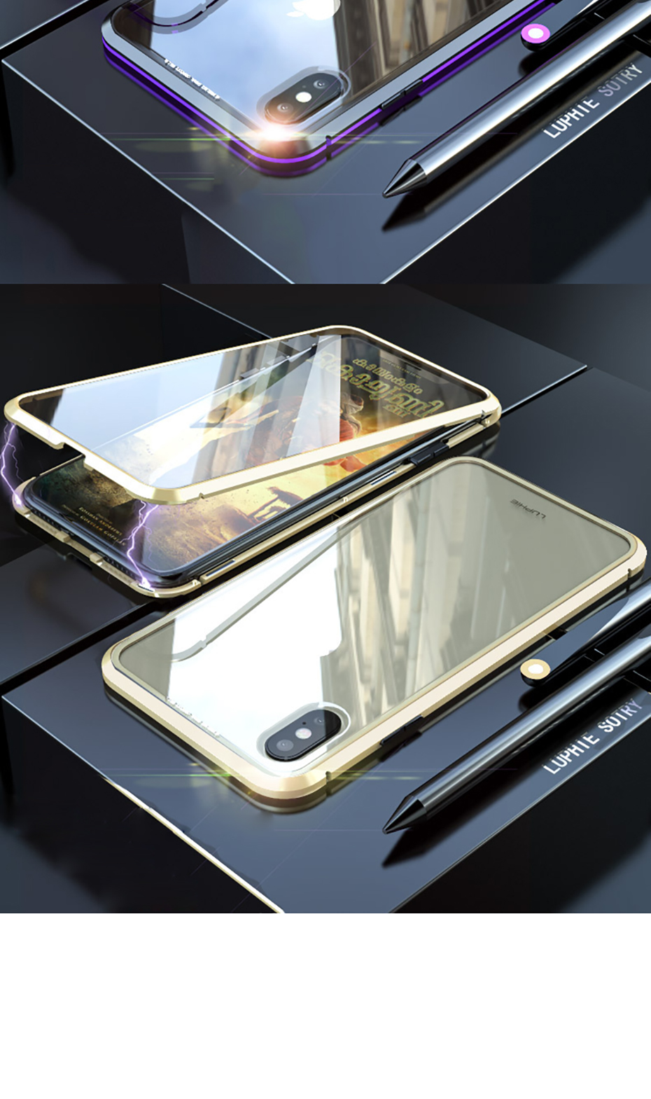 Double sided glass Magnetic case for iphone XS Max X 7 8 Plus Luxury metal 360 degree Full protection cover for iphone 7 8 Xr (10)