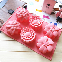6-cavity 3 group of flower type silicone cake mold hand soap mold jelly pudding mold Baking Tools(China)