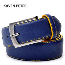 Man Split Leather Belt  Italian Design Casual Men's Belts With Blue Color Belts From Factory Direct Sales Free Shipment