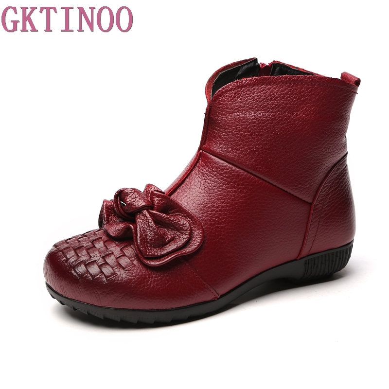 GKTINOO 2018 Winter New fashion women genuine leather shoes warm fur shoes flats ankle boots national handmade short boots<br>