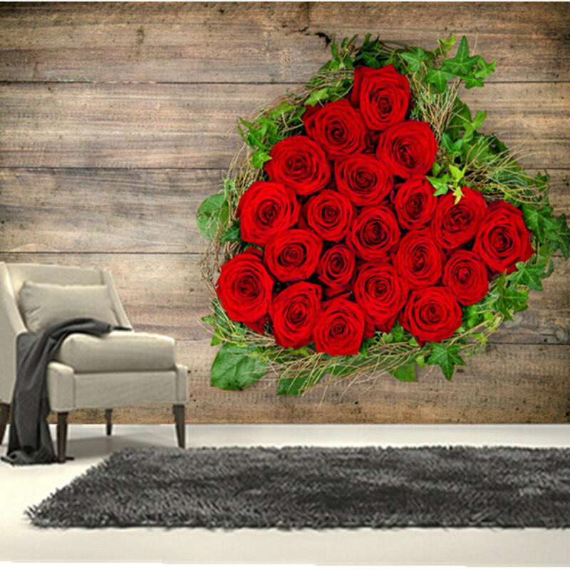 The custom 3D murals, roses Heart Red Flowers wallpapers wallpapers,living room sofa TV wall bedroom wall paper<br>