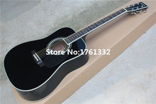 Hot sale Factory custom 41 inch 35D 20 frets black rounded corner solid top acoustic guitar with black pickguard