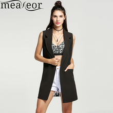 Meaneor Vest Cardigan Women Waistcoat Sleeveless Vest Long Jacket Solid Colete Cardigan Coat Outwear For Female Autumn FreeStyle