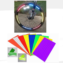 (1 Sheet=8Pcs) x7 Bicycle reflector Fluorescent MTB Bike Bicycle Sticker Cycling Wheel Rim Reflective Stickers Decal Accessories
