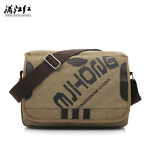 MANJIANGHONG Vintage Fashion Men's Shoulder Bag Canvas Messenger Bags Men Business Crossbody Bag Printing Travel Handbag 1142