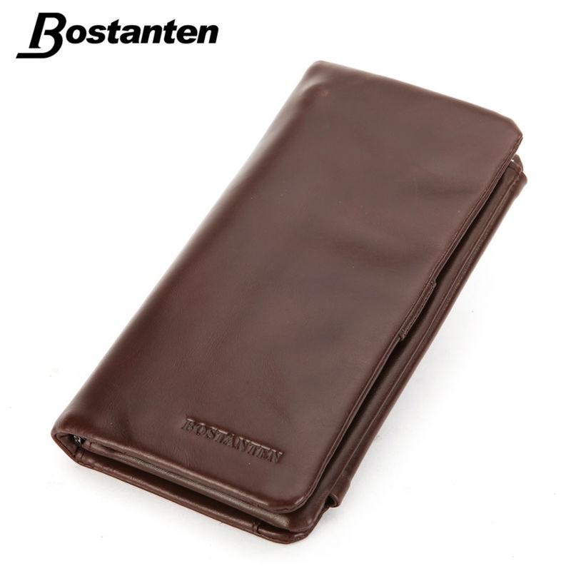 Bostanten Luxury Brand Designer Vintage Oil Wax Genuine Leather Coffee Men Long Trifold Coin Clutch Wallets Purse Card Holder<br>