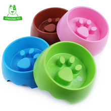KIMHOME 4 Color Cute Pet Feeding Bowl for Dog Cats Plastic Paw Print Slow Feeder Bowl S M(China)