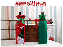 Santa Claus Snowman Design Wine Bottle Cover Red Wine Gift Bags Action Toys Best Gift(China)