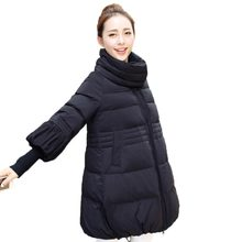 Winter Wadded Jacket Women New Fashion Stand Collar Warm Cotton Coat Loose Long Padded Jacket Three Quarter Sleeve PW0758