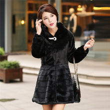 Plus Size S-6XL 5XL 4XL XXXL Medium-long Faux Fur Coat For Women Stripe Patchwork Rabbit Fur Jacket Overcoat Warm Winter Coats