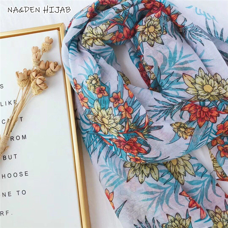 NEW Spring flower pattern hijab scarf bohemian style brand design women scarves and shawls soft Muslim hijabs