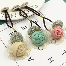 2017 New Button Headwear for women girl Fashion Flower Rose hair tie head ornaments hair band hair accessory Hot Sale