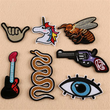 Hot sale embroidery flower patches for clothing unicorn/bee/guitar/gun logo sticker iron on patch for clothes free shipping