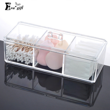 Crystal acrylic  storage box cotton Swab & Toothpick box  case with covere Creative Storage makeup caseRC31