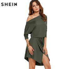 SHEIN Army Green Women Autumn Party Dresses Long Sleeve Ladies Sexy Club Dress 2016 Off Shoulder Asymmetric Overlap Dress(China)