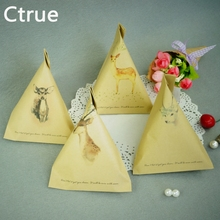 Ctrue 20pcs/lot Kraft paper candy bag with thank you tag Wedding Favor Bags rustic wedding Gifts for Guests wedding souvenirs(China)