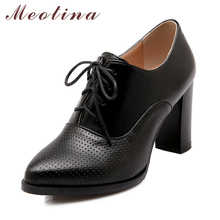 Meotina Big Size 40 41 British Style Women's Pumps Autumn Pointed Toe Chunky High Heels Female Lace Up Black Beige Shoes