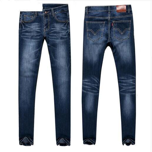 Men Ripped Slim Pencil Jeans Pants Classical Men Fashion Casual High Waist Denim Jeans Men Straight Skinny Blue Jeans Одежда и ак�е��уары<br><br><br>Aliexpress