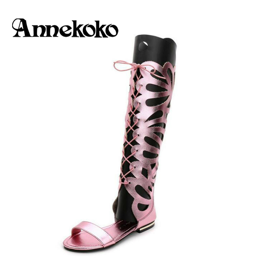 Women Boots Cowhide Back Zipper Open Toe Hollow Knee High Cut Out Roman Gladiator Flat Heel Sandals Strappy Evening Party Shoes <br><br>Aliexpress