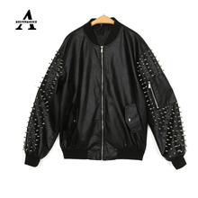 Black Leather Jacket Women Punk Rivets Studded Motorcycle Spiked Baseball PU Loose Jackets Cazadora Cuero Mujer Veste Cuir Femme