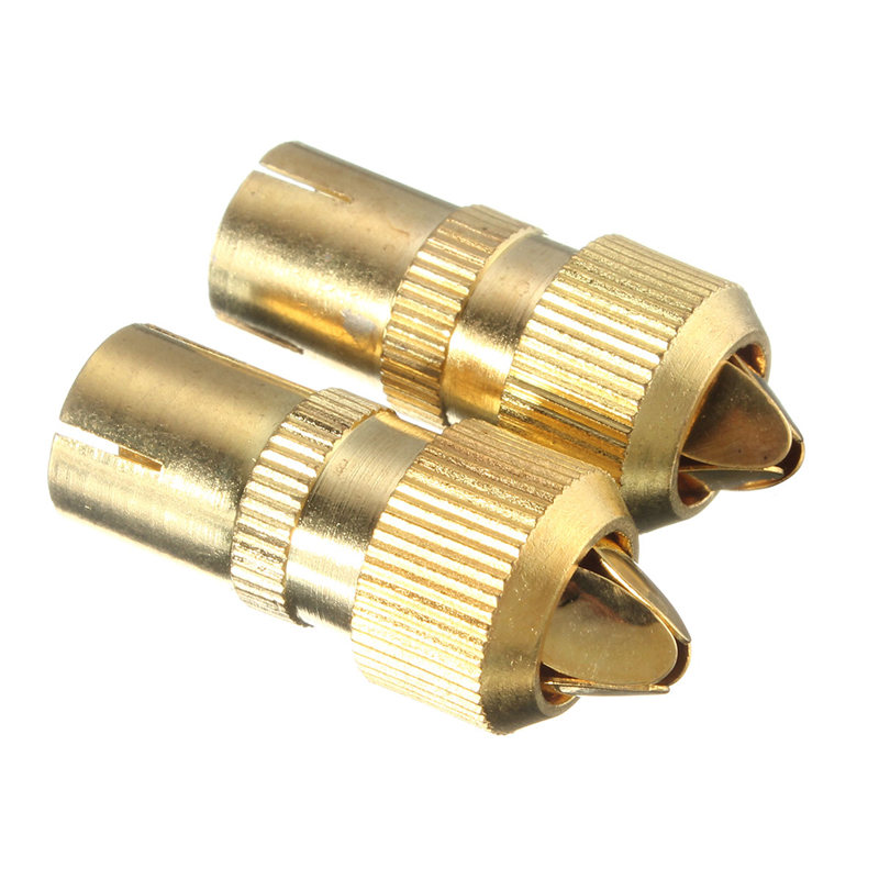 2PCS/lot Female TV Aerial Connector Adapter RF Coax Coaxial Cable Socket Bamboo Head RF Female Plug(China)