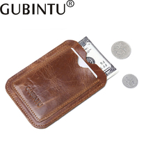 GUBINTU Genuine Leather Men and Women small wallet Simple driver license Bus and bank card holder purse for cards B3001-8