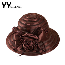 2016 Women Sun Hat Summer Yarn Kentucky Derby Hats Lady Beach Travel Gardening Sun Protection Flowers Bow Cap Foldable UV Hats(China)
