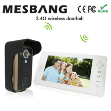2016 new  white color 2.4G wireless video doorphone  one camera one 7 inch monitor easy to install  without cable free shipping