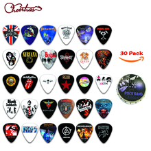 30pcs different famous metallica metal rock music band design guitar pick plectrum with tin box packing(China)