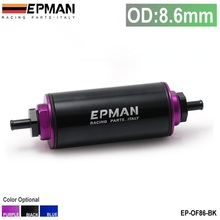 EPMAN -Universal 100 Micron Black 8.6MM Aluminum High Flow Fuel Inline Petrol Filter Car Truck EP-OF86-BK(China)