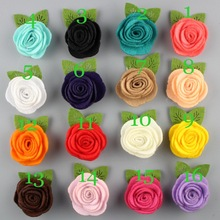Free Shipping!2017 New 60pcs/lot 25colors Fashion handmade felt rose flower with leaf Diy for hair accessories headband