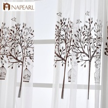 Embroidered tulle linen curtains white modern window drapes voile brown tree design bedroom kid room kitchen short curtain door(China)