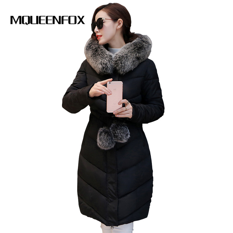Winter Jacket Women Cotton Padded Thick Ultra Light Long Coat 2017 New Faux Fur Collar Hooded Female Jackets For WomanÎäåæäà è àêñåññóàðû<br><br>