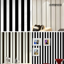 0.53x10 meters blue black and white vertical stripes pattern wallpaper children bedroom living room shop wallpaper(China)