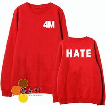 New arrival 4m 4minute 4 minute hate mv same red sweatshirt kpop letters printing o neck pullover hoodie sudadera(China)