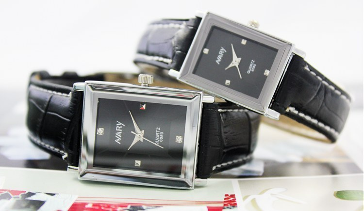 Fashion Design Wristwatches Lovers Square Black Dial Leather Band Casual Watch Analog Quartz Watches For Men Or Women Clock<br><br>Aliexpress