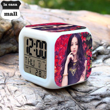 Dilraba China Beautiful Girl Super Star wekker reveil Kids Gifts reloj despertador Led 7 Color Flash Digital Alarm Clocks Free