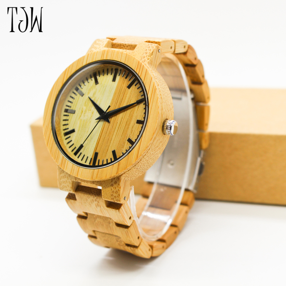 TJW Hot Sale japanese miyota movement wristwatches genuine leather men bamboo wooden watches for men and women<br>