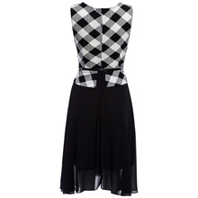 Black and White Classic Womens Dresses Plaid Striped Chiffon Faux Twinset Slim Waist Dress with Belt for Ladies