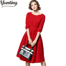 Winter Velvet Dress 2018 Half Sleeve Red Blue Elegant Women Clothing Casual Retro Vintage Party Dresses(China)
