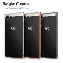 Original Ringke Fusion Crystal Clear PC Back Flexible TPU Edge Military Grade Drop Protective Case For Blackberry KEYone(China)