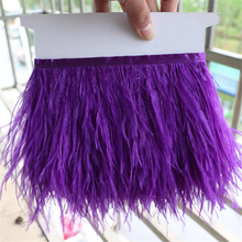 1 yard purple Ostrich feather fringe Trim Brooch/Fascinator Material