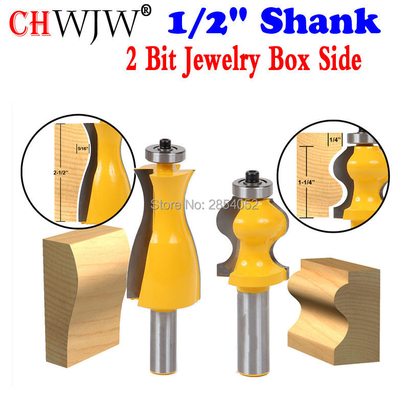 2 Bit Jewelry Box Side and Foot Mold Router Bit Set - 1/2 Shank Woodworking cutter Tenon Cutter for Woodworking Tools<br>
