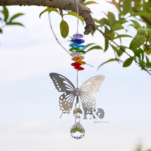 H&D 20mm Handmade Butterfly Crystal Ball Rainbow Maker Hanging Suncatcher with Octagon Bead Christmas Ornament Window Suncatcher(China)