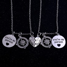 Silver 2PCs You're My Person Charm Compass Family Mother Daughter Pendant necklace Love Heart Necklaces Best Friends For Family